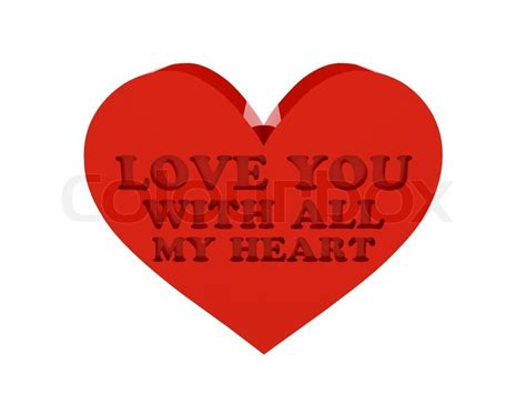 Home Inside Colour Design by Big Red Heart Phrase Love You With All My Heart Cutout