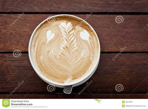 leaf pattern in coffee coffee with latte art stock image image 32476551