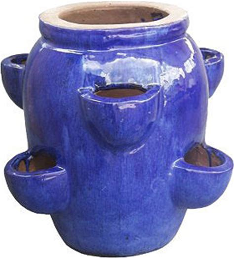 Ceramic Strawberry Planter Pots by Strawberry Planter Stoneware 06 Pockets Royal Blue Id