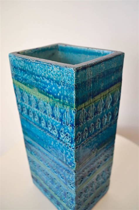 Blue Square Vase by Bitossi Rimini Blue Square Vase At 1stdibs