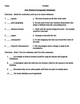 5 themes of geography quiz printable five themes of geography review guide and assessment