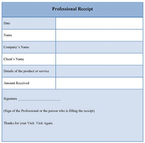 professional template professional receipt template format format of