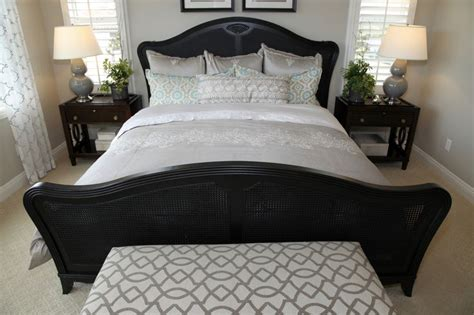small black futon small bedroom with black wicker bed frame featuring a