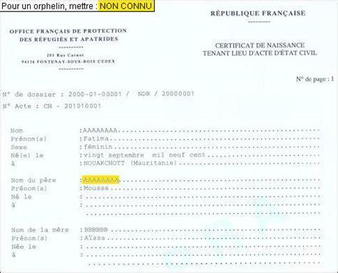 Exemple De Lettre De Demande Extrait De Naissance Formulaires 233 Tat Civil Ofpra