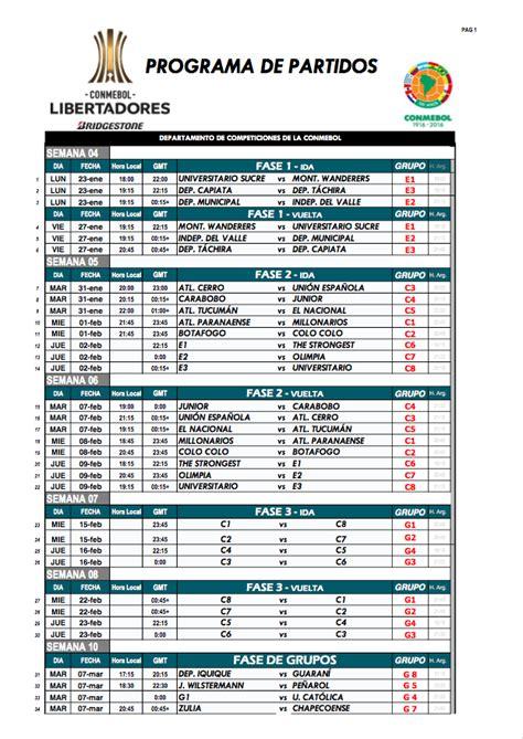 Calendario Colombia Eliminatorias Rusia 2018 Pdf Copa Libertadores 2017 Conoce Y Descarga El Fixture