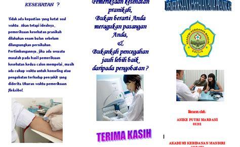 Alat Pemeriksaan Kesehatan anike putri mardani leaflet pemeriksaan kesehatan pada pranikah