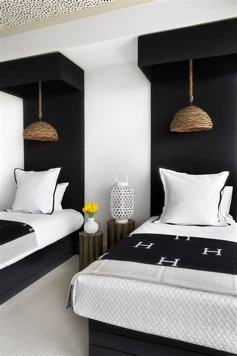 bedroom decoration black and white combination twin bed guest room southendstyle