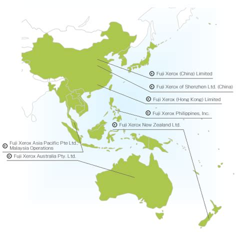 asia oceania map approaches by companies affiliated with fuji xerox social