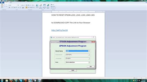 reset epson l310 mega how to reset epson l220 l130 l310 l360 l365 youtube