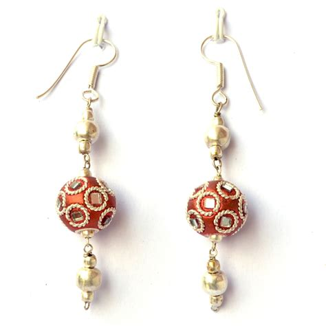 Handmade Earing - handmade earrings shining copper with mirror