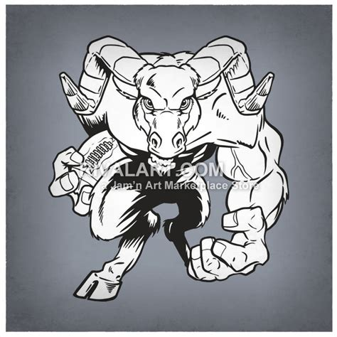 rams player rams black white graphic football player mascot