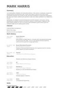 board member cv exle visualcv resume sles database