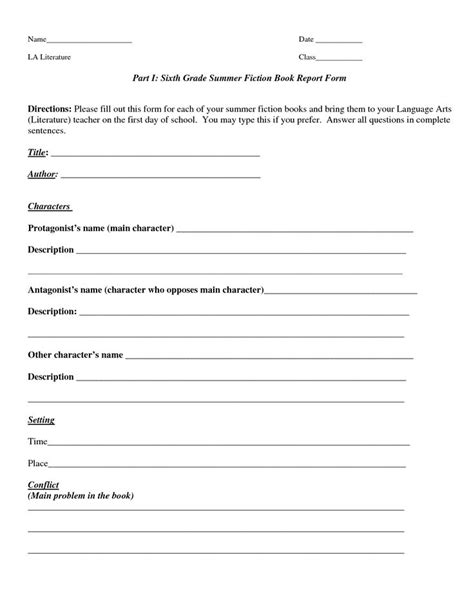 grade book report template book report template part i sixth grade summer fiction