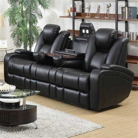 reclining with light up cup holders delange motion power reclining sofa 601741p savvy