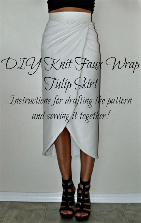 delrae diy knit faux wrap tulip skirt i would