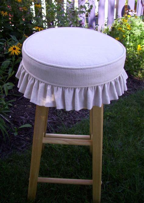 Linen Bar Stool Covers by Linen Barstool Slipcover And Cushion Ruffled Skirt Bar