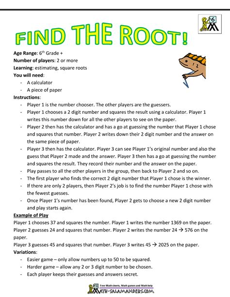 printable word games for grade 6 6th grade math games