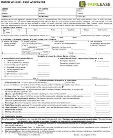 sle vehicle lease agreement 9 exles in word pdf