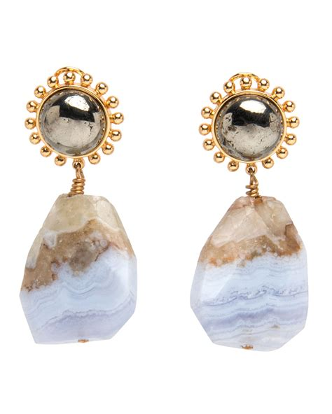 nest jewelry blue lace agate and pyrite drop earrings