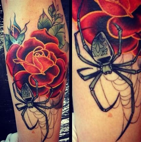 rose with spider web tattoo mua dasena1876 qu instagram photo