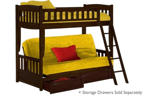 Childrens Bunk Beds With Sofa Wood Futon Bunk Bed Espresso Cinnamon Bunk The Futon Shop