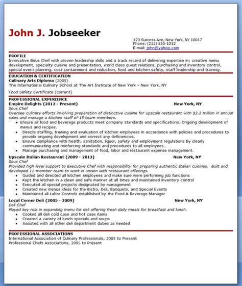 sous chef resume exles sous chef resume template free resume downloads