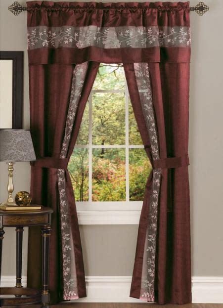 5 piece curtain sets fairfield faux silk 5 piece curtain set burgundy
