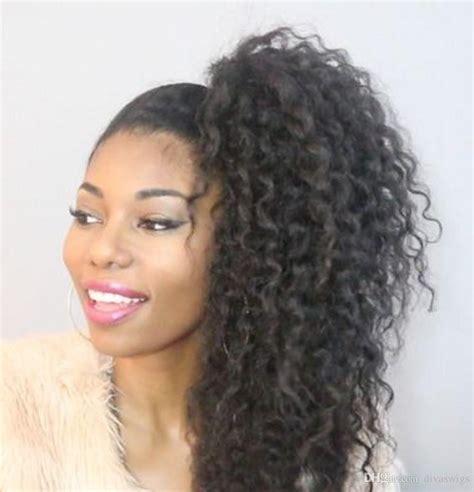 black woman drawstring ponytail hairstyles drawstring human hair ponytail hairpieces afro kinky curly