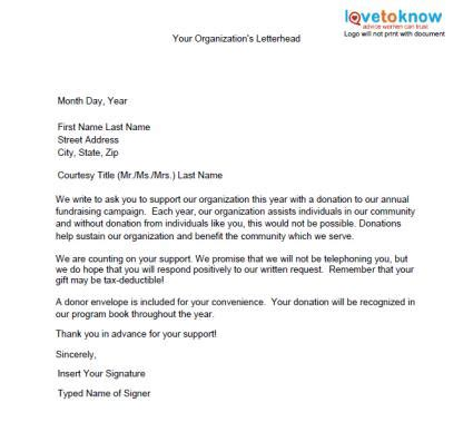 charity letter writing sles of non profit fundraising letters lovetoknow
