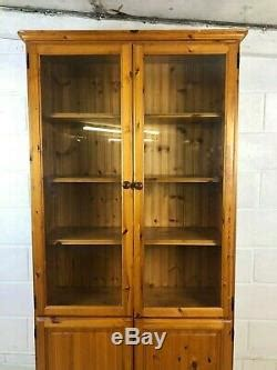 large tall pine solid wood farmhouse glass door pantry