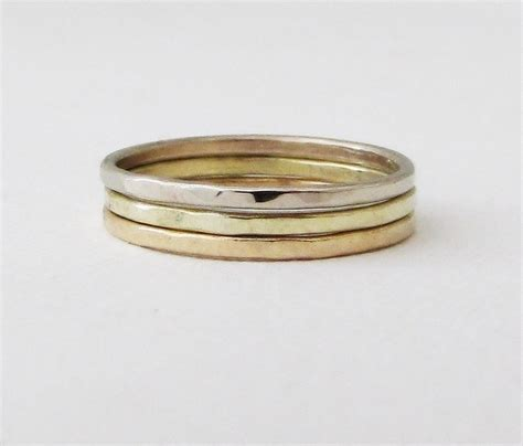gold stacking rings yellow gold green gold white gold