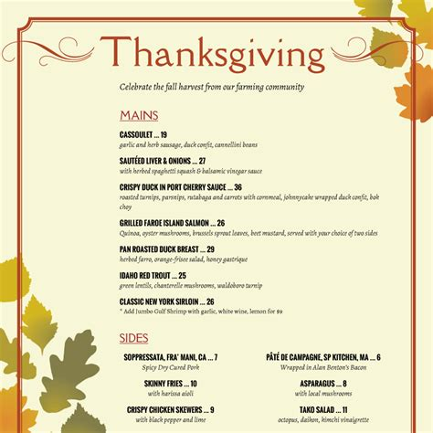 free thanksgiving menu templates menu templates from imenupro more than just