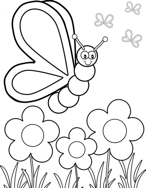coloring pages of animals and flowers butterfly flew the flower coloring pages printable