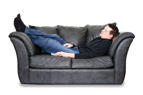 How To Fix The Leather Sofa by Young Husband Asleep On Leather Couch