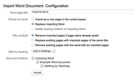 Confluence Import Word Document