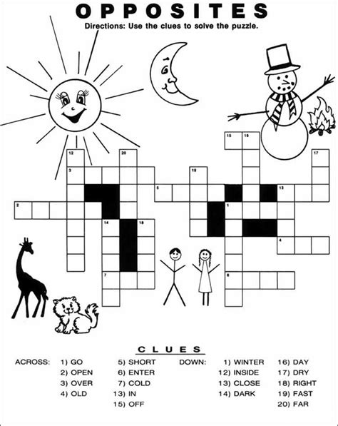 theme synonym crossword print out activities for kids personalized school