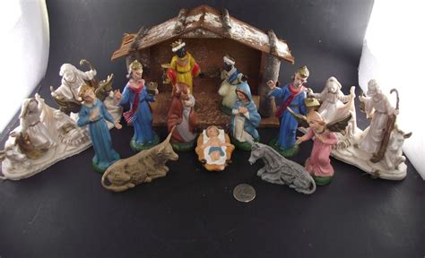 vintage 19 piece nativity set from italy vintage nativity set italy 15 rubber plastic set ebay