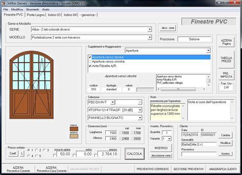 preventivi porte e finestre infixor software preventivi finestre e serramenti