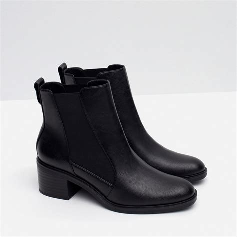 zara elastic ankle boots in black lyst