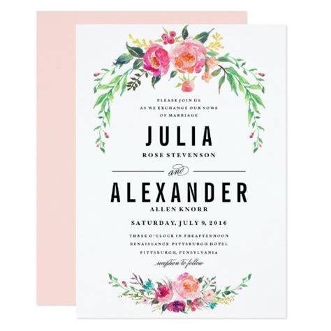 Flower At Wedding by Watercolor Flower Wedding Invitations Yourweek 433349eca25e