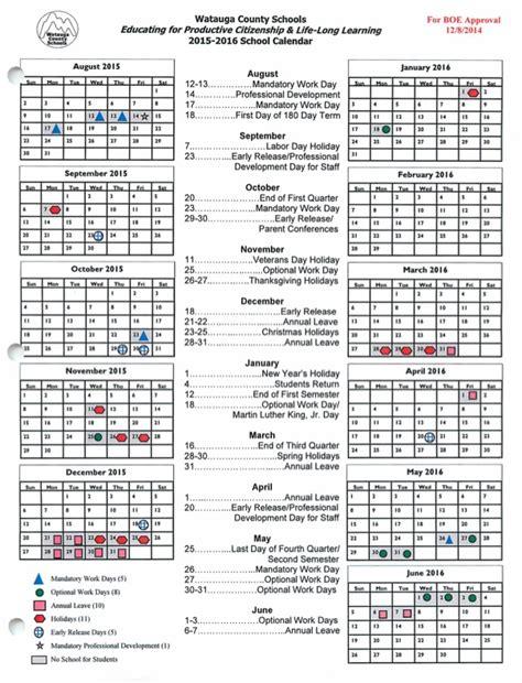 Calendar 2015 16 School Year Watauga School Board Meets On Monday Swearing In Of New