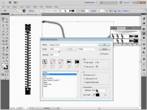 zipper tutorial illustrator create a zipper pattern brush in adobe illustrator youtube