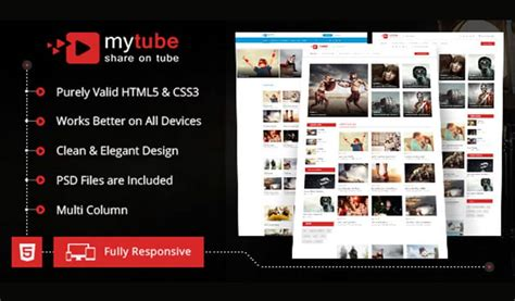html design video mytube video theme html template for youtube vimeo