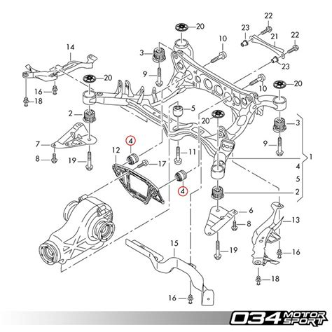 motor repair manual 2012 audi a4 spare parts catalogs 034motorsport rear differential carrier mount insert upgrade kit b8 audi a4 s4 rs4 a5 s5 rs5