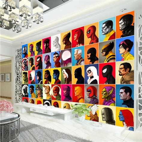 superhero wallpaper for bedroom aliexpress com buy superhero comics wallpaper spiderman wall mural captain america photo