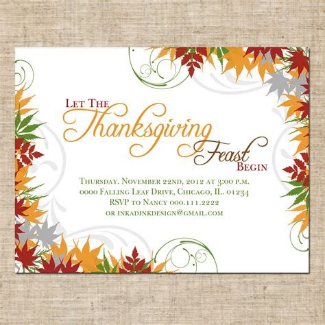 Thanksgiving Invitation Card Template by Beautiful Thanksgiving Feast Invitation Postcard With