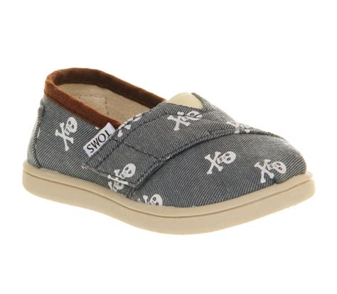kid toms shoes toms tiny classics skull chambray exclusive ebay