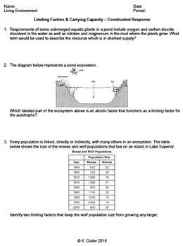 Limiting Factors Worksheet Answers by Carrying Capacity Worksheet Defendusinbattleblog