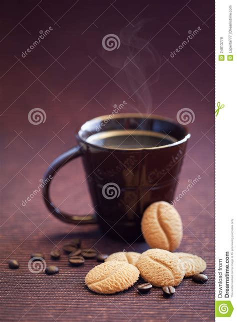 Cookies Coffee Bean cookies and cup coffee royalty free stock photos image