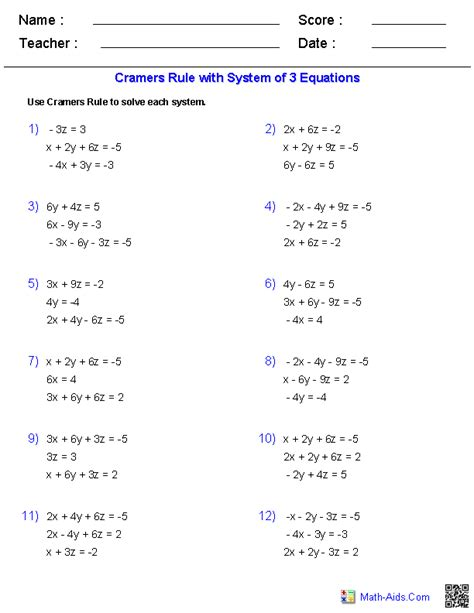 Matrix Equations Worksheet Answers